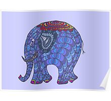 Colourful, patterned, doodle elephant Poster