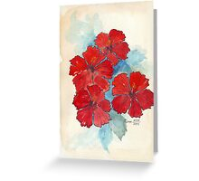Red & Blue Hibiscus Greeting Card