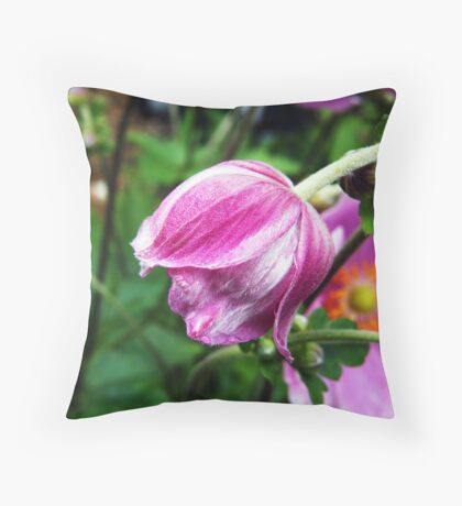Pink Japanese Anemone Bud Throw Pillow