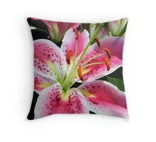 Pink Lily in Bloom II Throw Pillow
