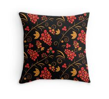 traditional russian khokhloma pattern Throw Pillow