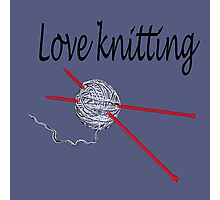 Love knitting - gray background Photographic Print