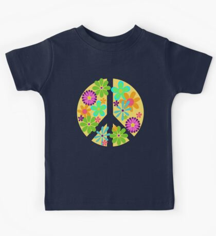 Peace Out Groovy Peace Sign Kids Tee