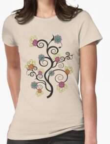 Swirly Flower Tree Womens Fitted T-Shirt