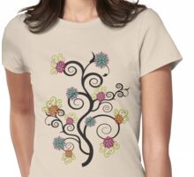 Swirly Flower Tree Womens Fitted T-Shirt