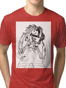Black And White Chucky Child's Play Drawing Tri-blend T-Shirt
