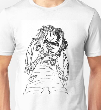 Black And White Chucky Child's Play Drawing Unisex T-Shirt