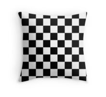 chequards,  black and white squares Throw Pillow