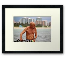 Old Man, his Bike and the Sea Framed Print