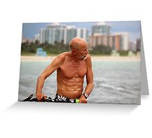 Old Man, his Bike and the Sea Greeting Card