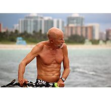 Old Man, his Bike and the Sea Photographic Print