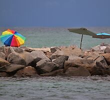 Late Noon Adorning  Umbrellas by Rene  Triay