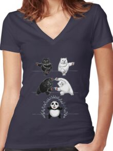 The fusion of panda  Women's Fitted V-Neck T-Shirt