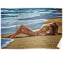 Blond girl sun tanning lazing at the beach. Poster
