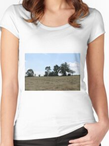 countryside landscape with hay Women's Fitted Scoop T-Shirt