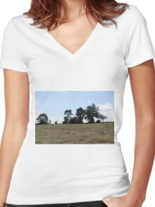 countryside landscape with hay Women's Fitted V-Neck T-Shirt