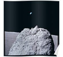 Apollo Archive 0140 Moon Rock Outcrop and Earth from Lunar Surface Poster