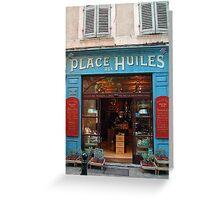 Quaint shopfront on Place Huiles Greeting Card