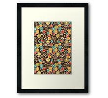 Robots on brown. Framed Print