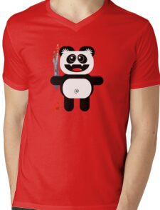 PANDA 2 (Cute pet with a sharp knife!) Mens V-Neck T-Shirt