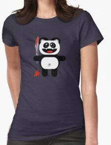 PANDA 2 (Cute pet with a sharp knife!) Womens Fitted T-Shirt
