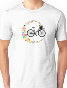 Vintage Cycling Pretty Retro Ladies Bike Flowers Unisex T-Shirt