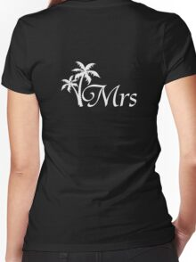 Mr and Mrs Tropical Beach Wedding Honeymoon Matching Women's Fitted V-Neck T-Shirt