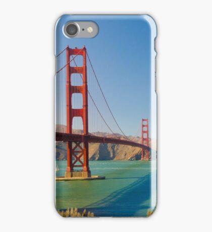Golden Gate Bridge on a bright clear blue sky day iPhone Case/Skin