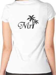 Mister Mr and Mrs Wedding Honeymoon Palm Tree Women's Fitted Scoop T-Shirt
