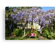 BEACH COTTAGE WITH WYSTERIA Canvas Print