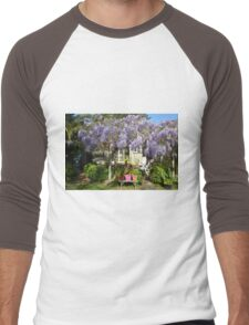 BEACH COTTAGE WITH WYSTERIA Men's Baseball ¾ T-Shirt
