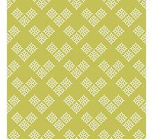 Geometric flowers on green Photographic Print