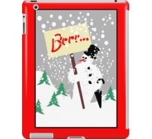 Snowman with text board and snowfall iPad Case/Skin