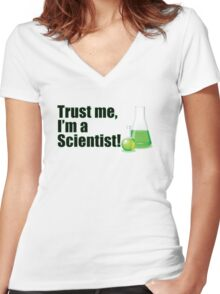 Trust Me I'm a Scientist Funny Lab Technician Bottles Quote Women's Fitted V-Neck T-Shirt