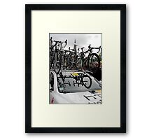 Reflections of Team Bicycles in the HTC High Road,Team Car windscreen, at the Start of the Tour of Britain, Peebles.            Framed Print