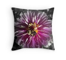 Feeding Bumble Bee On Peony Throw Pillow