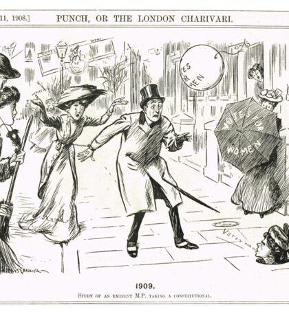 MP & Votes for Women Punch cartoon 1908 Sticker