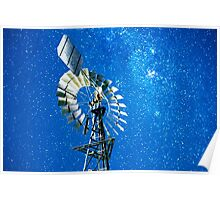 Stars and a windmill at night Poster