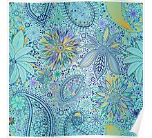Abstract Lace - Cyan Poster