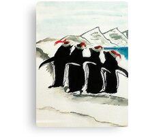 Holiday Penguin, watercolor Canvas Print