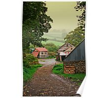 Misty fields and farm outbuildings Poster