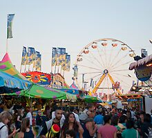 Crowds and Rides at the CNE Midway by Gary Chapple