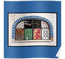 Blue Brick Window Poster