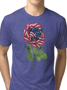 ♥ º ☆.¸¸.•´¯`♥ Stars & Stripes Rose T-Shirt ♥ º ☆.¸¸.•´¯`♥ Tri-blend T-Shirt