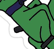 Funny Green T-Rex Dinosaur Skiing Cartoon Sticker