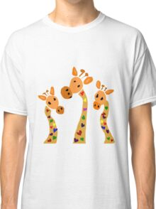 Cool Funky Giraffes with Colorful Hearts as Spots Classic T-Shirt