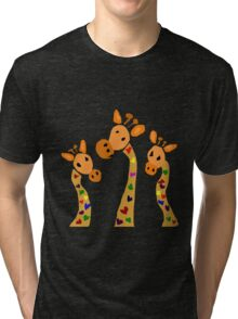 Cool Funky Giraffes with Colorful Hearts as Spots Tri-blend T-Shirt