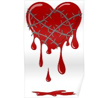 Bleeding Heart Silver Barbed Wire Poster