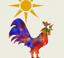Colorful Rooster Art by Christina Rollo