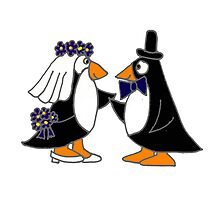 Awesome Penguin Bride and Groom Art Original by naturesfancy
